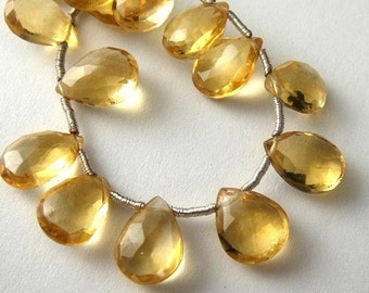 Citrine Pear Briolette, Faceted Gemstone, 2 MATCHED PAIRS, (4pcs) Wholesale Beads, Brides, 9-10mm