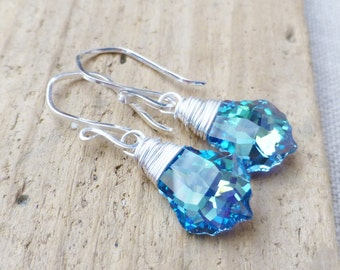 Swarovski Crystal Earrings, Aquamarine Crystal Earrings, Vitrail Prism Blue, Green, Yellow, Sterling Silver Wire Wrapped Earrings, Gift