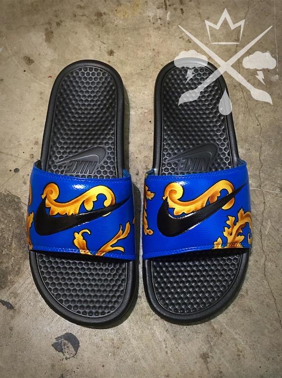 Nike Custom Blue Supreme Foamposite Benassi Swoosh Slide Sandals Flip flops  Men's