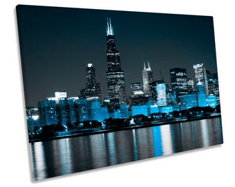 Chicago Skyline Illinois Blue Print CANVAS WALL ART Picture Framed