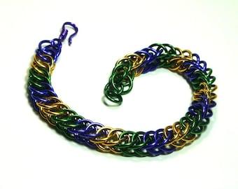 Chainmaille Jewellery, Half Persian, Purple, Green, Gold, Mardi-Gras