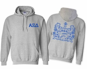 Alpha Xi Delta World Famous Crest Hooded Sweatshirt - Royal Blue Print