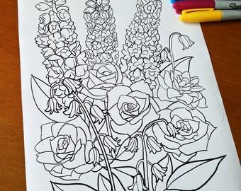 Adult Coloring Sheet Flower Arrangement