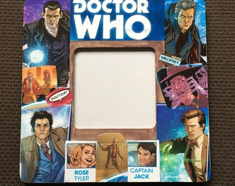 Doctor Who inspired Comic Themed Square Decoupage Picture Frame