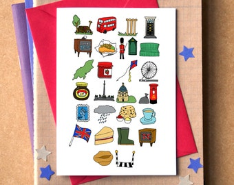 Great Britain Alphabet Greetings Card - alphabet of the UK - alphabet of Great Britain - bon voyage card - leaving UK card
