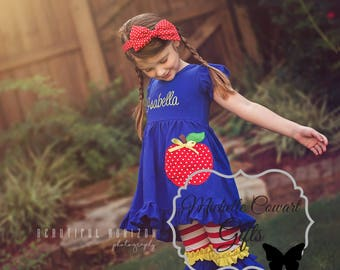 School Outfit, Monogram Outfit, Monogrammed Outfit, Personalized Outfit, Apple Outfit, Girls, 3, 4, 5, 6, 7, RTS, Capri, Ruffle, Pre-K