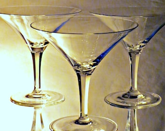Set of 3, Clear Vintage Crystal Martini Glass