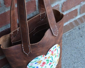 Rustic Brown small tote with tulip heart pocket