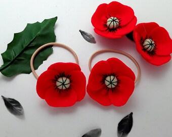 Red poppy etsy red poppy hair ties poppy flower elastic diy ponytails pig tail holders free uk shipping mightylinksfo