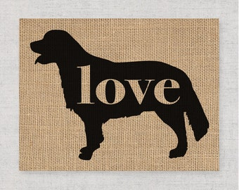 Golden Retriever Love - Burlap or Canvas Paper Dog Breed Wall Art Decor Print - Gift for Dog Lovers - Can Be Personalized w/ Name (101p)