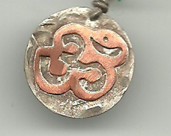 Folk Indian Om Pendant in Copper and Silver