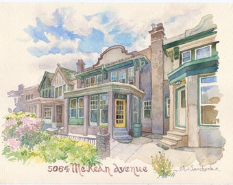 Watercolor house portrait 9x12 Custom Wedding Venue, family home, building illustrations Commissioned house drawing Sketch of my house, home