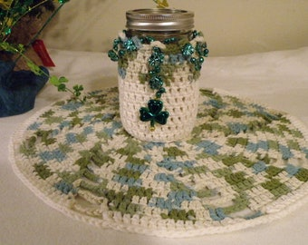 Irish Doily with Mason Jar Holder Embellishments