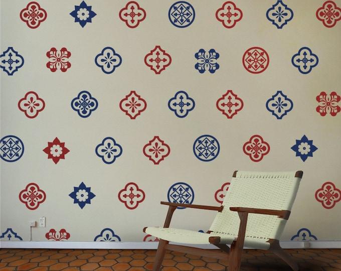 mediterranean wall decal set, spanish pattern wall sticker, andalusian art, azulejo inspired art, FREE SHIPPING