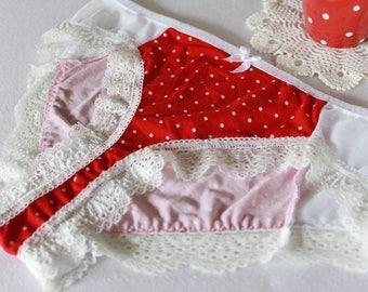 red polkadot hipster, vintage style polkadot panties, white mesh panties