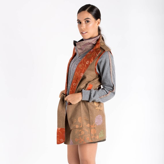 Vest Clothes Womens Embroidered Brown Woolen Her Pockets Gifts For With Vest Sleeveless Vest Vest Vest Camel Warm Hippie Birthday wPqUxU
