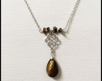 Tiger eye necklace - tiger eye pendant - tiger eye jewelry - natural stone - drop stone - natural stone jewelry - lucky stone