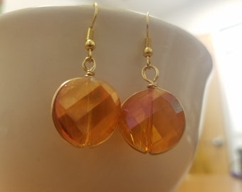 Wire-Wrapped Warm Amber Orange Faceted Lentil-Shaped Glass Dangle Earrings