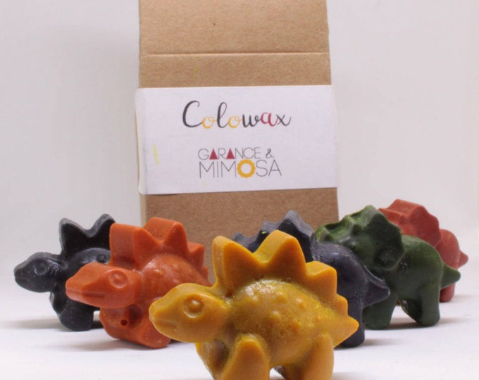dinosaurs crayons 6 pack organic and vegan wax