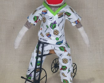 "Ninja Turtle Sock Monkey - Classic Sock Monkey - 18"" Tall - Rockford Red Heel Socks"