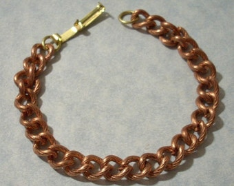 Vintage Copper Charm Bracelet Blank (7 Inch) Textured Oval Copper Chain Links