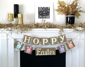 Happy Easter Decoration / Hoppy Easter Banner / Rustic /Easter Garland / Bunny Trail / Decoration Banner / Easter Photo Prop