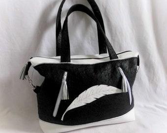 decoration leather handbag black and white feather