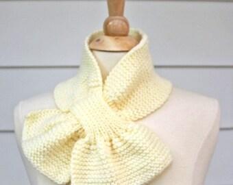 cream knit scarf, ivory keyhole scarf, white knit cowl, knit keyhole scarf, knit cowl scarf, womens winter scarf, knit ascot scarf