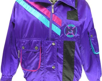 Vintage 80s Tyrolia Head Ski Jacket Womens 8 Purple Retro Puffy Stripes Neon [G91R_2-1_Puffy]