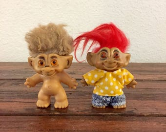 Pair of Troll Dolls / Vintage Toy / Brown Haired Troll / Red Haired Troll / Russ Co / Bright / TNT / 1970's Collectible
