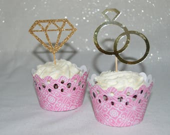 Cupcake Toppers Bridal Party, Bridal Shower, Anniversary, Birthday Party, Ring Toppers