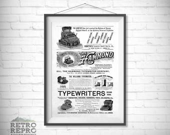 Vintage Victorian Typewriter Old Original Writer Ad Advert Nostalgia Retro Poster Print