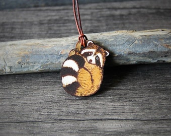 Sweet cute raccoon leather pendant - by Fanny Dallaire -  leather work