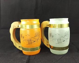 2 Vintage 1960's Siesta Ware Frosted Barrel Shape Tiki Bar Mugs