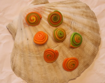 Fimo buttons snail with eye orange-green