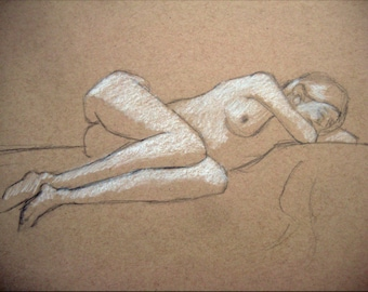 "Female Figure Drawing - Reclining Nude Female Figure - original drawing, graphite and pastel on toned paper, 9x12 ""Natalie Resting"""