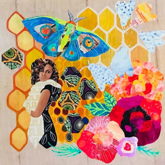 Art Print Painting Folk Art Collage Bee Girl Honeycomb Butterfly African Fabric Flower Illustration Paper Art