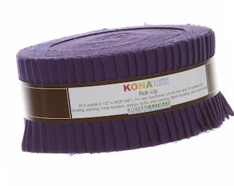 Kona Cotton Solids 2.5-inch Roll-Up - Purple - Robert Kaufman Fabrics RU-324-40