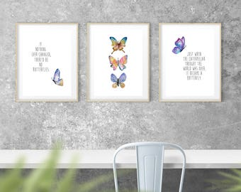 Butterfly Wall Decor SET Butterfly Print Nursery Wall Art Girls Room Butterfly Nursery Decor Butterfly Wall Decor Picture INSTANT DOWNLOAD