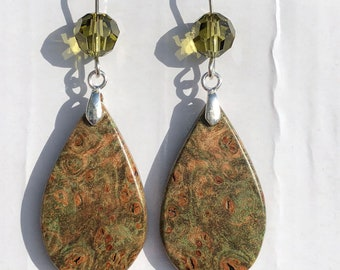 Burl Maple Wood Cabochon and Sterling Ear Wire Earrings