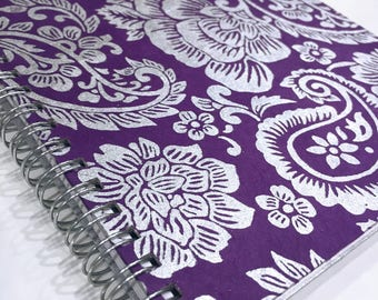 Ruled Journal - Silver Paisley on Violet