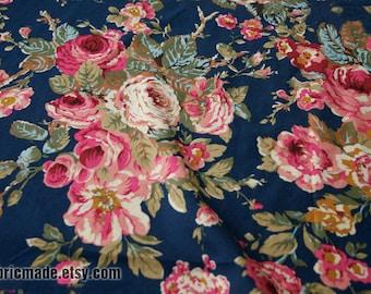 Shabby Chic Flower Fabric, Large Camellia Flower On Dark Blue Cotton  - 1/2 Yard
