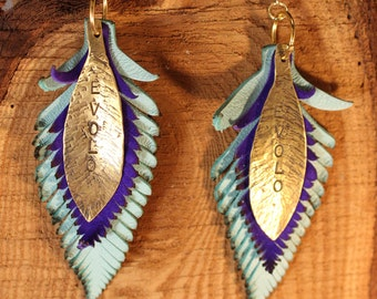 Evolo Leather Feather Earrings