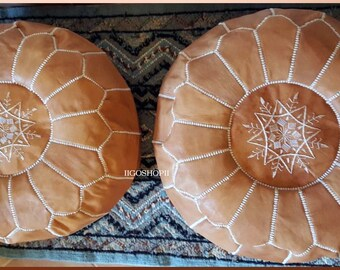 Set of 2 Moroccan Poufs, Ottoman pouf, footstools pouf, tan floor pouf, Handmade natural Leather pouf, Home decor, Boho Decor, natural brown