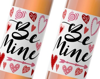 happy valentine's day wine label / be mine / galentine's day / holiday party favor / xoxo / valentine gift / WLH-30
