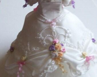 Beautiful handmade 1/12th scale dollhouse miniature silk gown /ballgown