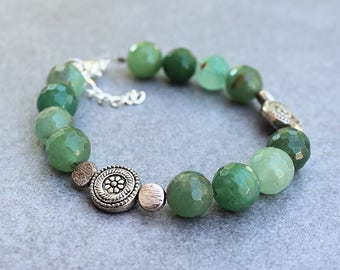 Green Bead Bracelet, Green Bracelet, Green Aventurine Bracelet, Flower Bracelet, Floral Bracelet, Green Beaded Bracelet, Green Bracelet
