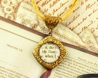 Mr. Darcy - Literature Necklace - Jane Austen, Pride and Prejudice - Romance, Novel, Author, Regency - Silver, Gold