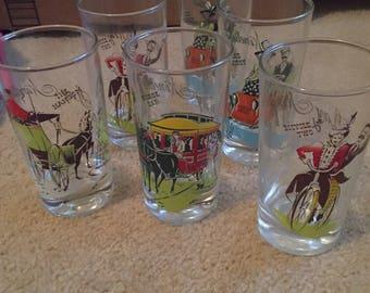 Set of 6 1950s Gay Nineties Glasses
