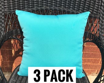 3 Pack of Sunbrella Canvas Aruba Pillow Water Resistant